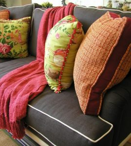 Throws add pattern and instant color to a living room