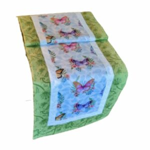 Whispering Butterflies Green 51 inch Table Runner
