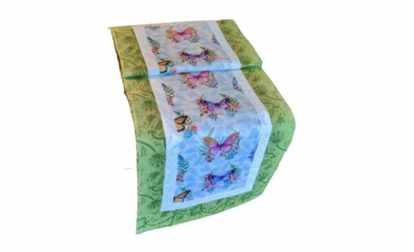 Whispering Butterflies Green 51 inch Table Runner