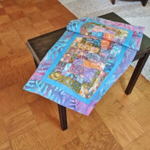 Supreme Accents Kaleidoscope Handmade Aegean Blue Table Runner 44 inches long