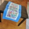 Supreme Accents Blooming Flowers Azure Blue Table Runner 71 inches Long