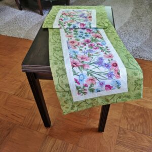 Supreme Accents Blooming Flowers Soft Green Table Runner 51 Inches Long