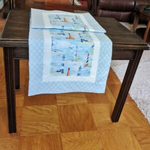 Supreme Accents Lighthouse Sky Blue Table Runner 51 inches Long