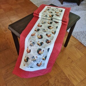 Supreme Accents Hens and Rooster Brick Red Table Runner 71 inches