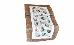 Supreme Accents Hens and Rooster Table Runner Hickory Brown 38 inch