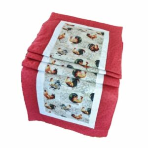 Supreme Accents Hens and Rooster Table Runner Red 71 inch
