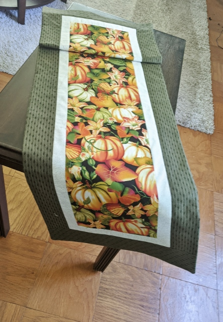 Supreme Accents Bountiful Pumpkins Green Table Runner 51 inches Long