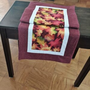 Supreme Accents Fall Leaves Brick Red Table Runner 38 inches Long