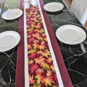 Supreme Accents Fall Leaves Brick Red Table Runner 71 inches Long