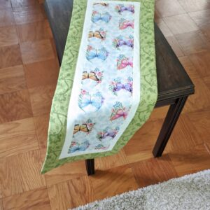 Supreme Accents Whispering Butterflies Soft Green Table Runner 38 inches