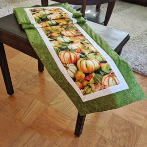 Supreme Accents Bountiful Pumpkins Greening Table Runner 71 inches