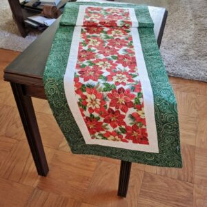 Supreme Accents Christmas Poinsettias Green Table Runner 51 inches