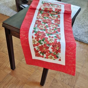 Supreme Accents Christmas Poinsettias Red Table Runner 51 inches