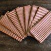 Supreme Accents Burgundy and Gold Stripe Napkin Set of 8