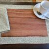 Supreme Accents Gold and Burgundy Stripe Place mat Set
