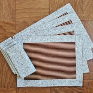 Supreme Accents Gold and Burgundy Stripe Place mat and Napkin Set of 4