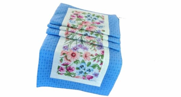 Supreme Accents Blooming Flowers Azure Blue 71 inch Table Runner