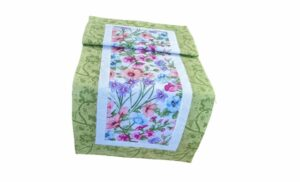 Supreme Accents Blooming Flowers Table Runner Soft Green 38 inches