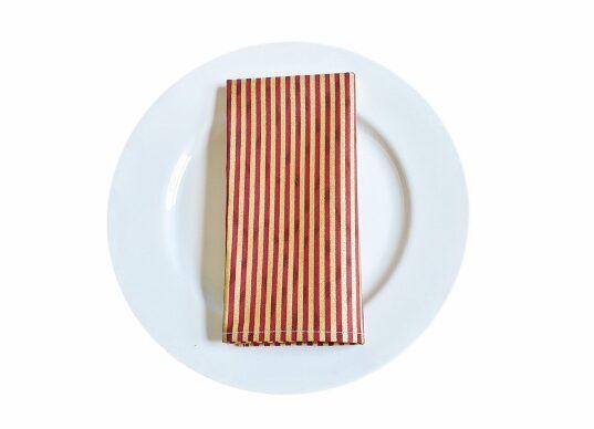 Supreme Accents Burgundy and Gold Stripe Napkin