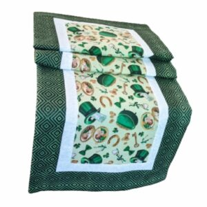 Supreme Accents Luck o the Irish Black & Green Table Runner 51 Inches Long
