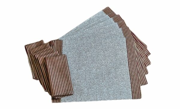 Supreme Accents Burgundy Stripe and Gold Place mat and Napkin Set of 6