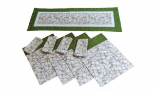 Supreme Accents Garlic Green Table Runner and Place mat & Napkin Trio