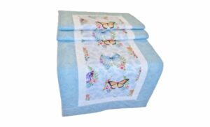 Supreme Accents Whispering Butterfly Table Runner Sky Blue Table runner 51 inch