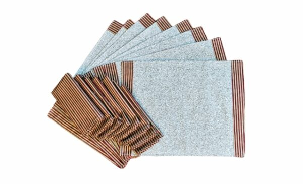 Supreme Accents Burgundy Stripe and Gold Place mat and Napkin Set of 8