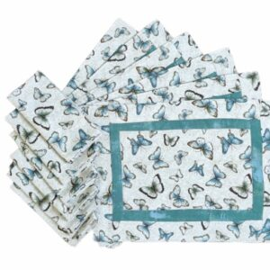 Supreme Accents Fluttering Butterflies Place mat and Napkin Set of 6