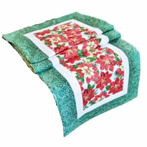 Supreme Accents Christmas Poinsettias Green 51 inch Table Runner