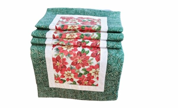 Supreme Accents Christmas Poinsettias Green Table Runner 71 inch