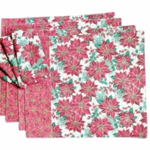 Supreme Accents Classic Poinsettia Place mat and Napkin Set of 4