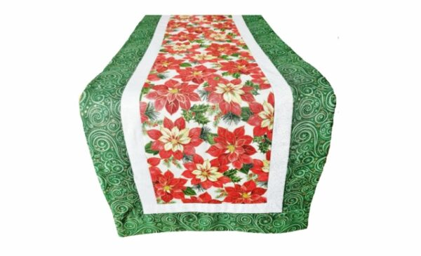 Supreme Accents Christmas Poinsettias Green Table Runner 51 inch