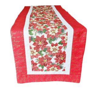Supreme Accents Christmas Poinsettias Red 51 inch Table Runner