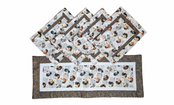 Supreme Accents Hens and Rooster Hickory Brown 38 inch Table Runner Place mat Napkin Set
