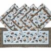 Supreme Accents Hens and Rooster Hickory Brown 38 inch Table Runner Place mat Set