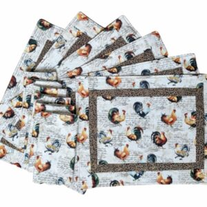 Supreme Accents Hens and Roosters Quilted Place mat and Napkin Set of 6