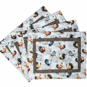 Supreme Accents Hens and Roosters Quilted Place mat Set of 4