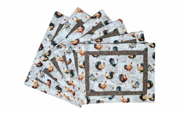 Supreme Accents Hens and Roosters Quilted Place mat Set of 6