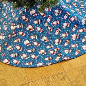 Supreme Accents Jolly Santa Blue Tree Skirt 46 inches Diameter