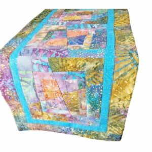 Supreme Accents Kaleidoscope Splatter Blue Quilted Table Runner 64 inches