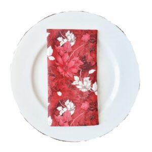 Supreme Accents Red Poinsettias Napkin