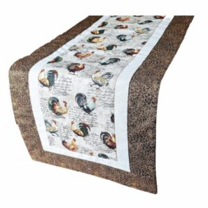Supreme Accents Rooster Table Runner Hickory Brown 38 inch