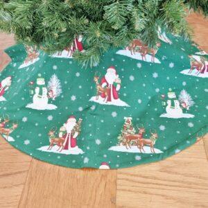 Supreme Accents Snowmen and Santa Green Tree Skirt 36 inch