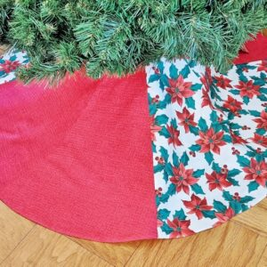 Supreme Accents Berries and Poinsettia Christmas Tree Skirt 48 inches