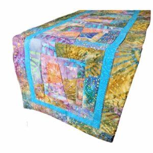 Supreme Accents Kaleidoscope Handmade Splatter Blue Table Runner 44 inches long