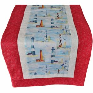 Supreme Accents Lighthouse Red Star Table Runner