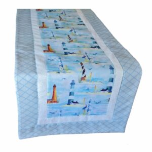 Supreme Accents Lighthouse Sky Blue Table Runner Long