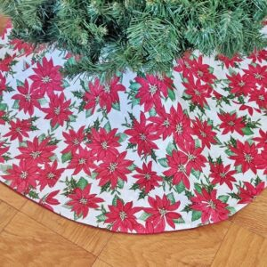 Supreme Accents Poinsettias Christmas Tree Skirt 48 inches
